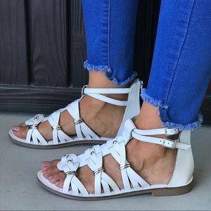 Distressed White Leather Roman Gladiator Sandals